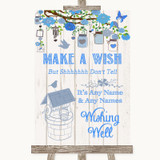Blue Rustic Wood Wishing Well Message Customised Wedding Sign