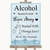 Blue Shabby Chic Alcohol Bar Love Story Customised Wedding Sign