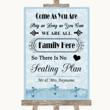 Blue Shabby Chic All Family No Seating Plan Customised Wedding Sign