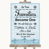 Blue Shabby Chic As Families Become One Seating Plan Customised Wedding Sign