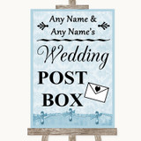 Blue Shabby Chic Card Post Box Customised Wedding Sign