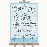 Blue Shabby Chic Cards & Gifts Table Customised Wedding Sign