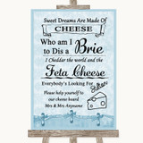 Blue Shabby Chic Cheese Board Song Customised Wedding Sign