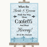 Blue Shabby Chic Confetti Customised Wedding Sign