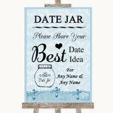 Blue Shabby Chic Date Jar Guestbook Customised Wedding Sign