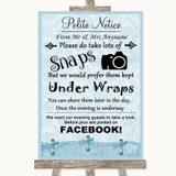 Blue Shabby Chic Don't Post Photos Facebook Customised Wedding Sign