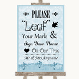 Blue Shabby Chic Fingerprint Tree Instructions Customised Wedding Sign