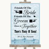 Blue Shabby Chic Friends Of The Bride Groom Seating Customised Wedding Sign
