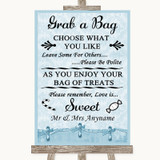 Blue Shabby Chic Grab A Bag Candy Buffet Cart Sweets Customised Wedding Sign