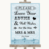 Blue Shabby Chic Guestbook Advice & Wishes Lesbian Customised Wedding Sign