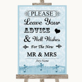 Blue Shabby Chic Guestbook Advice & Wishes Mr & Mrs Customised Wedding Sign