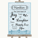 Blue Shabby Chic Hankies And Tissues Customised Wedding Sign