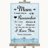 Blue Shabby Chic I Love You Message For Mum Customised Wedding Sign