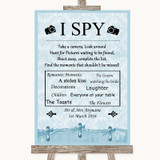 Blue Shabby Chic I Spy Disposable Camera Customised Wedding Sign