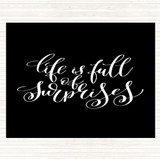 Black White Life Full Surprises Quote Mouse Mat
