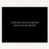 Black White Life Gets Better Quote Mouse Mat