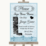 Blue Shabby Chic Jenga Guest Book Customised Wedding Sign