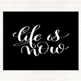 Black White Life Snow Quote Mouse Mat
