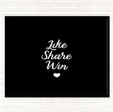 Black White Like Share Win Quote Mouse Mat