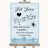 Blue Shabby Chic Let Love Sparkle Sparkler Send Off Customised Wedding Sign