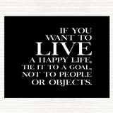 Black White Live A Happy Life Quote Mouse Mat
