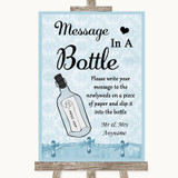 Blue Shabby Chic Message In A Bottle Customised Wedding Sign
