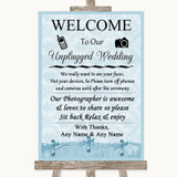Blue Shabby Chic No Phone Camera Unplugged Customised Wedding Sign