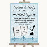 Blue Shabby Chic Photo Guestbook Friends & Family Customised Wedding Sign