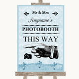 Blue Shabby Chic Photobooth This Way Left Customised Wedding Sign