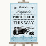Blue Shabby Chic Photobooth This Way Right Customised Wedding Sign