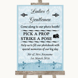 Blue Shabby Chic Pick A Prop Photobooth Customised Wedding Sign