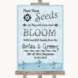 Blue Shabby Chic Plant Seeds Favours Customised Wedding Sign