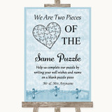Blue Shabby Chic Puzzle Piece Guest Book Customised Wedding Sign