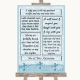 Blue Shabby Chic Romantic Vows Customised Wedding Sign