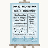 Blue Shabby Chic Rules Of The Dancefloor Customised Wedding Sign