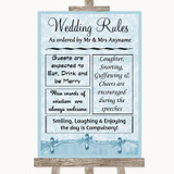 Blue Shabby Chic Rules Of The Wedding Customised Wedding Sign