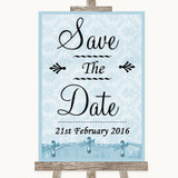 Blue Shabby Chic Save The Date Customised Wedding Sign