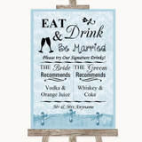 Blue Shabby Chic Signature Favourite Drinks Customised Wedding Sign