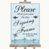 Blue Shabby Chic Signing Frame Guestbook Customised Wedding Sign