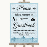 Blue Shabby Chic Take A Moment To Sign Our Guest Book Customised Wedding Sign