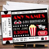 Movie Film Cinema Ticket Customised Children's Birthday Party Invitations