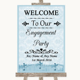 Blue Shabby Chic Welcome To Our Engagement Party Customised Wedding Sign