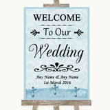 Blue Shabby Chic Welcome To Our Wedding Customised Wedding Sign