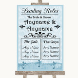 Blue Shabby Chic Who's Who Leading Roles Customised Wedding Sign
