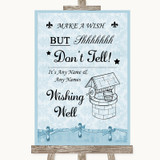 Blue Shabby Chic Wishing Well Message Customised Wedding Sign
