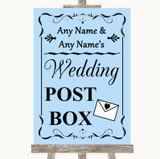 Blue Card Post Box Customised Wedding Sign