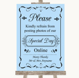 Blue Don't Post Photos Online Social Media Customised Wedding Sign