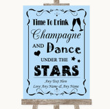 Blue Drink Champagne Dance Stars Customised Wedding Sign