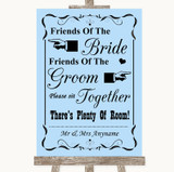 Blue Friends Of The Bride Groom Seating Customised Wedding Sign