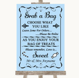 Blue Grab A Bag Candy Buffet Cart Sweets Customised Wedding Sign